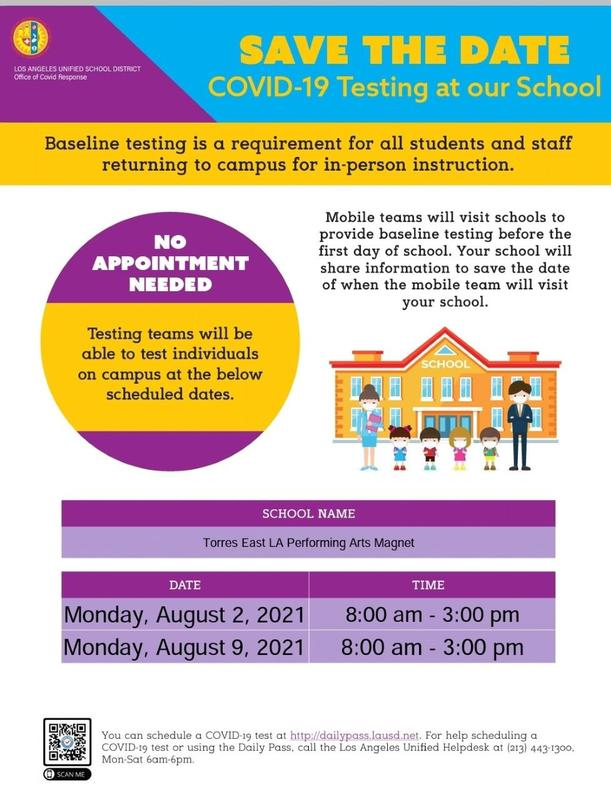 COVID Testing at our School on Monday 8/2  and 8/9 from 8am-3pm Featured Photo