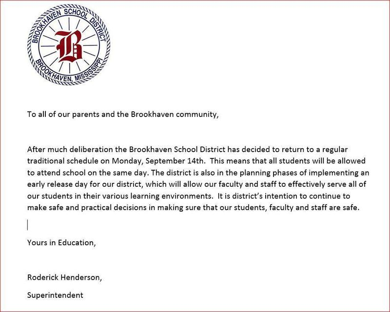 The Brookhaven School District Resumes Traditional Schedule Monday, September 14th Thumbnail Image