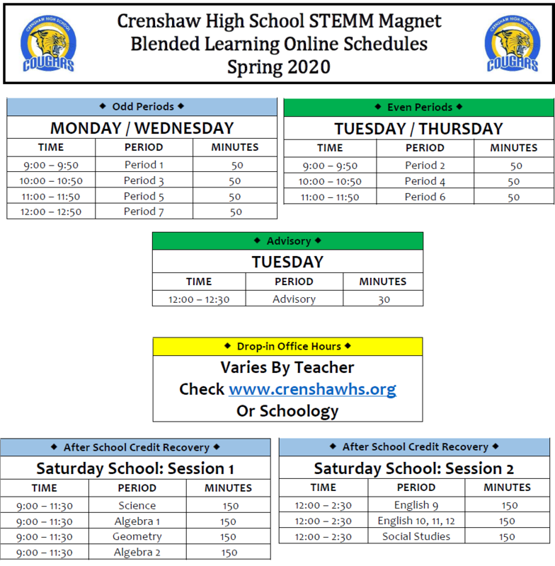 The CHS Blended Learning Class Schedule starts APRIL 13TH! Featured Photo