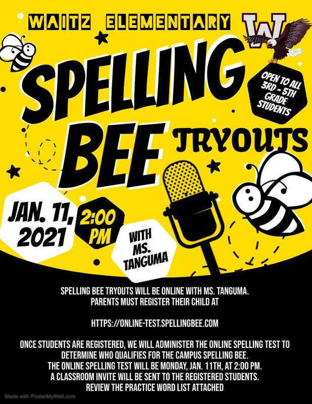 Spelling Bee Tryouts - January 11th Featured Photo