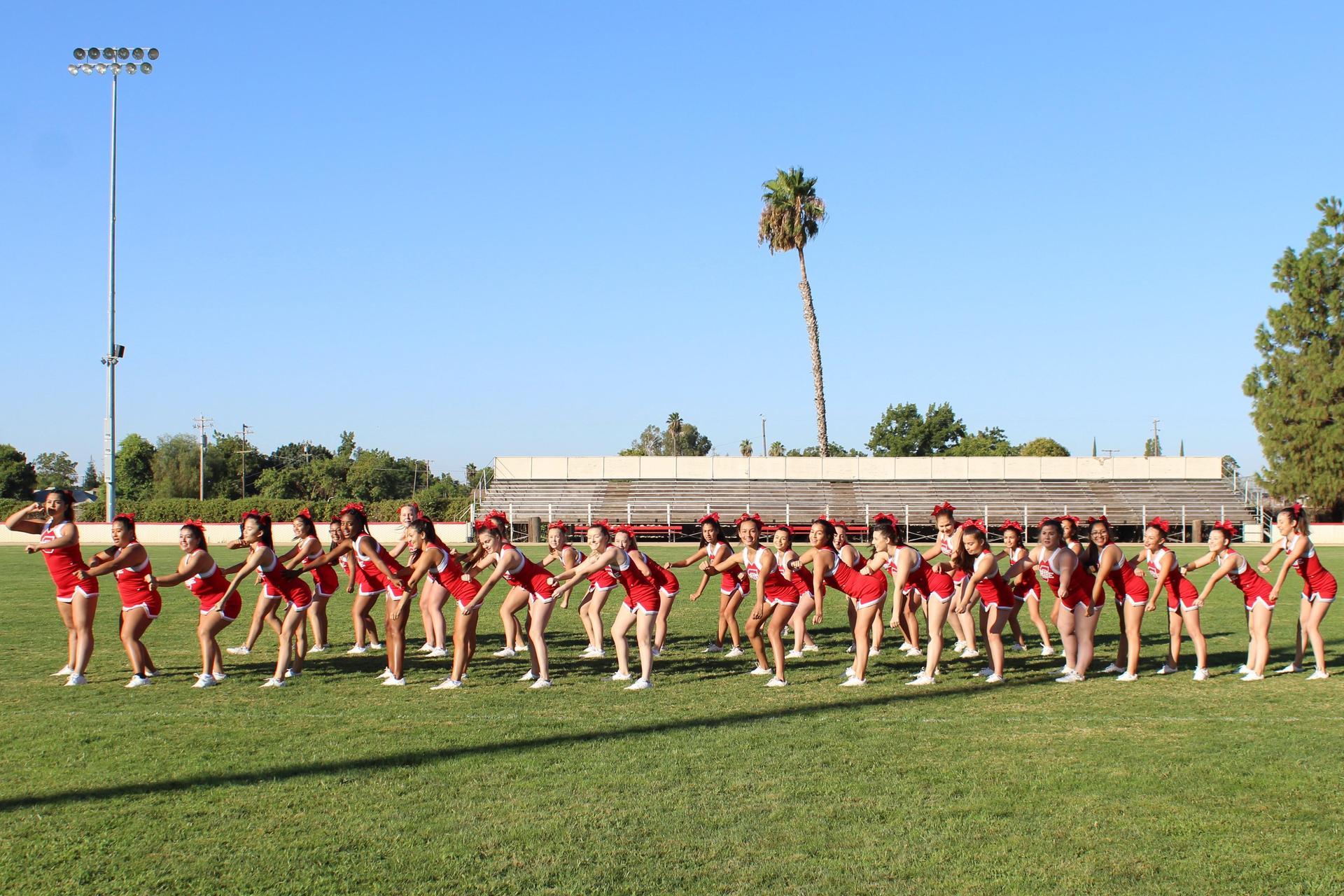 cheerleaders performing the routine