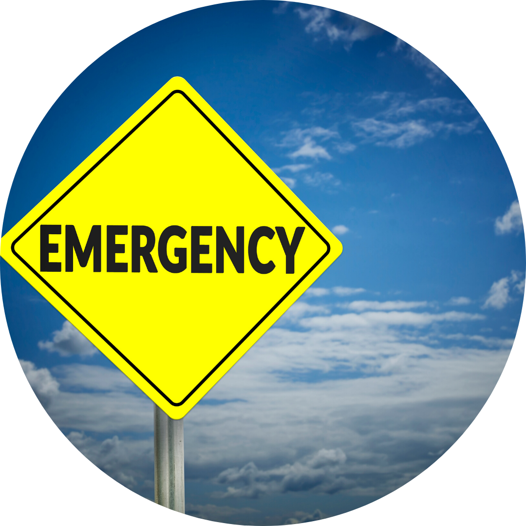 sign reads emergency