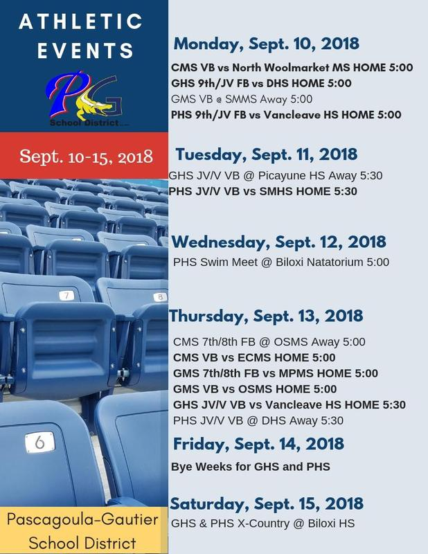 Athletic Events for Week of Sept. 10-15, 2018