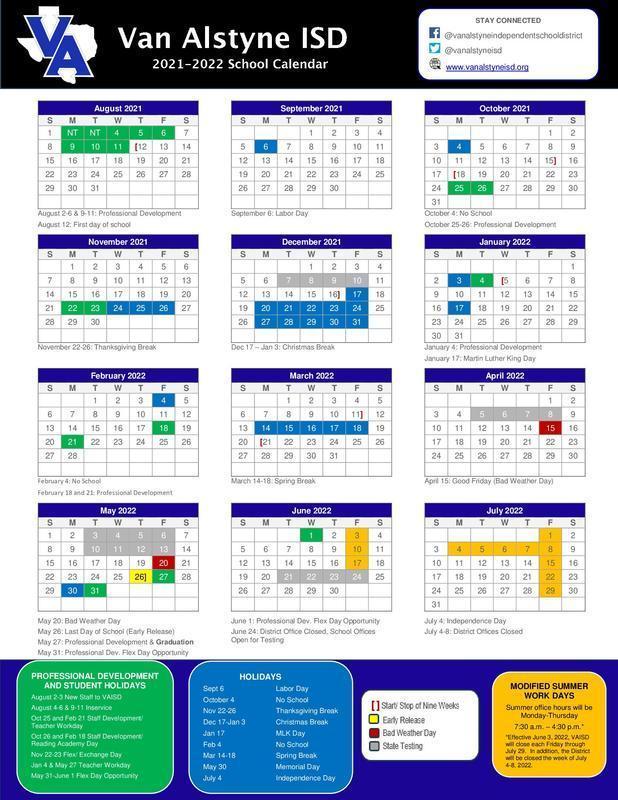 VAisd Calendar 2021-22 School Year Thumbnail Image