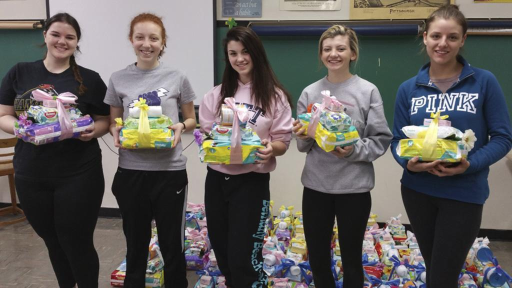 Rebels for Life Club donating baby items