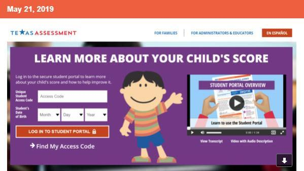 Parent Access to STAAR Student Portal Report Card Thumbnail Image