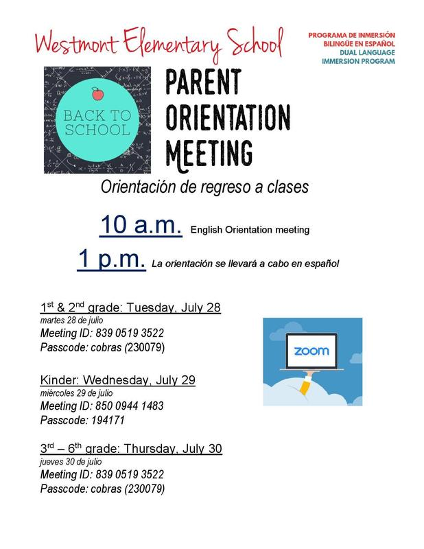 20-21 Parent Orientation Schedule