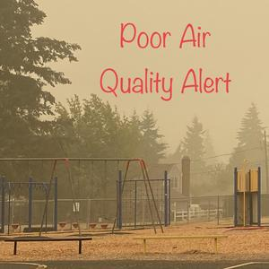 Elementary playground shrouded in smoke