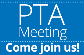 PTA Meeting announcement on blue background.