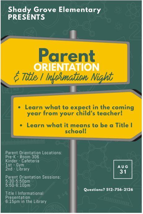 Parent Orientation Night, Aug 31st Featured Photo