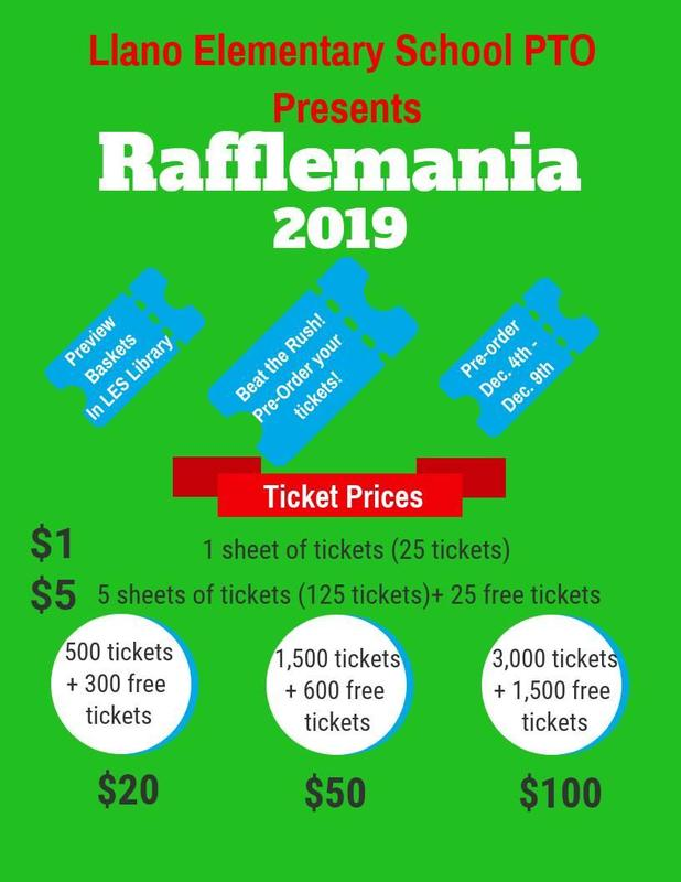 Rafflemania at Llano Elementary School! 12-10-19 5:30-7:00 Featured Photo