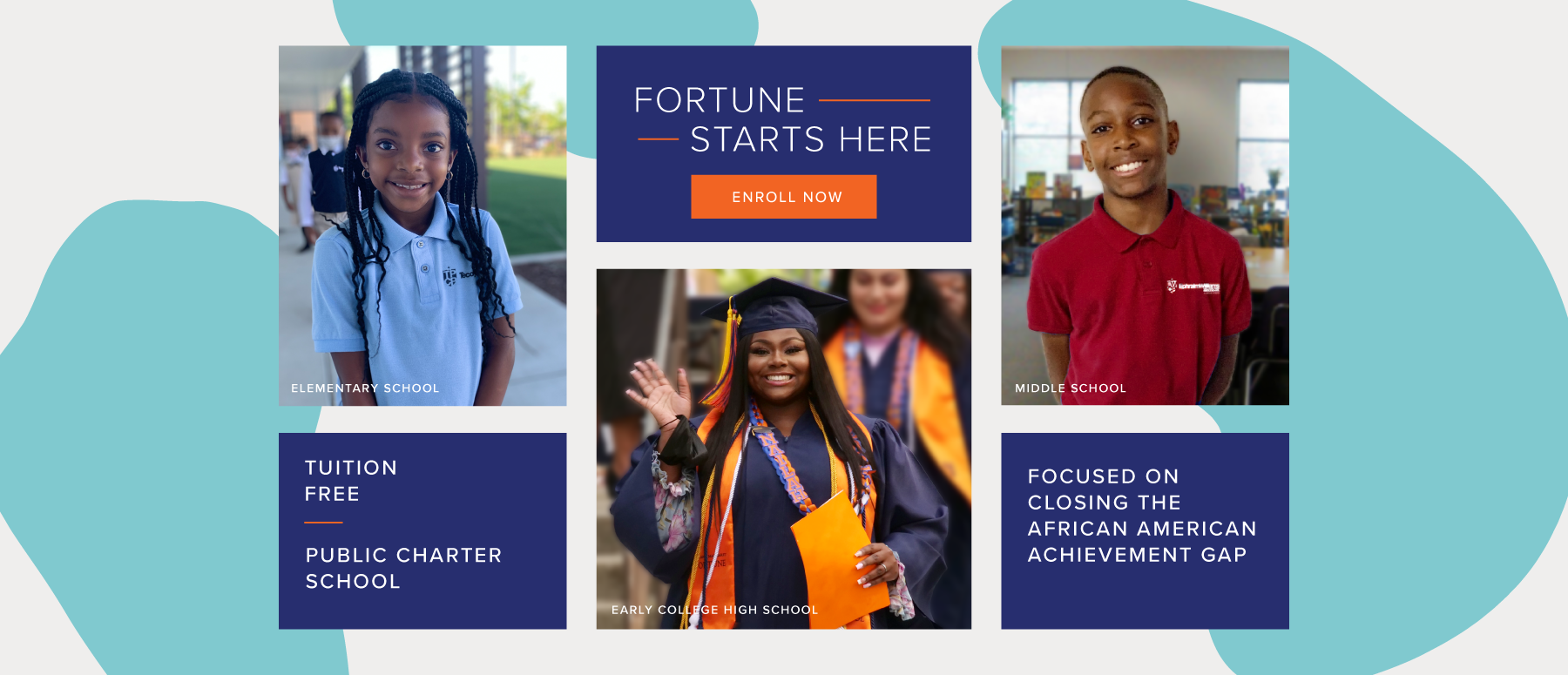 The graphic highlights the entry points for the Fortune School system: elementary, middle and high school.