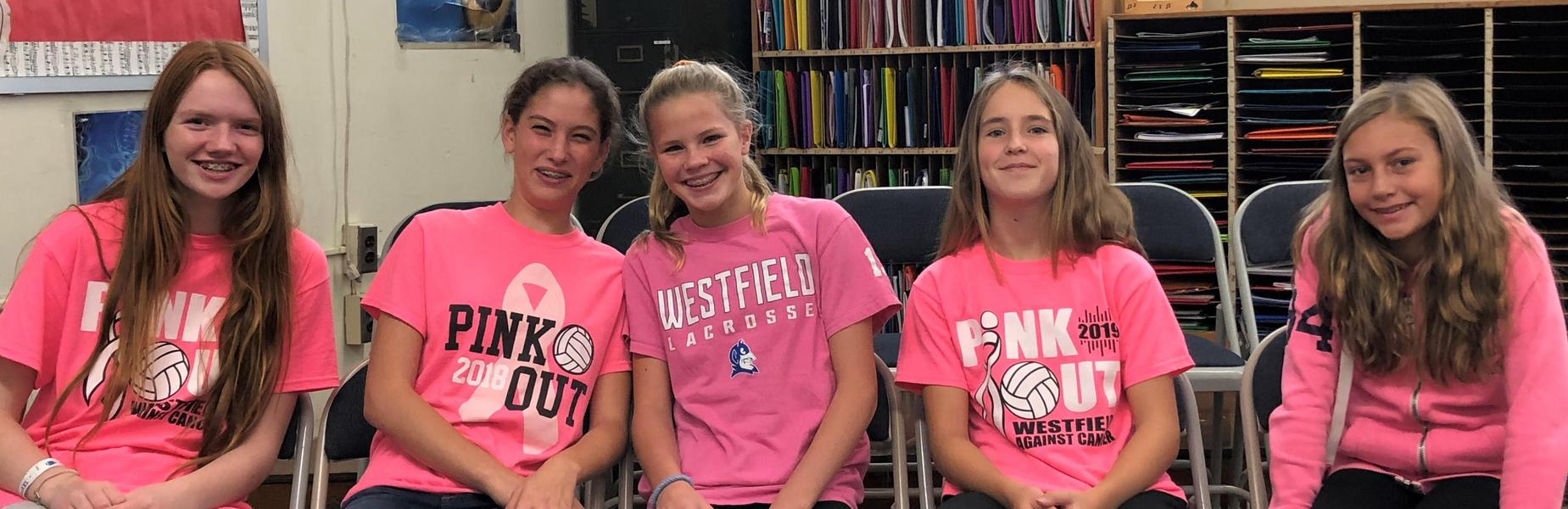 Photo of RIS students wearing pink for annual Pink Out in recognition of Breast Cancer Awareness Month.