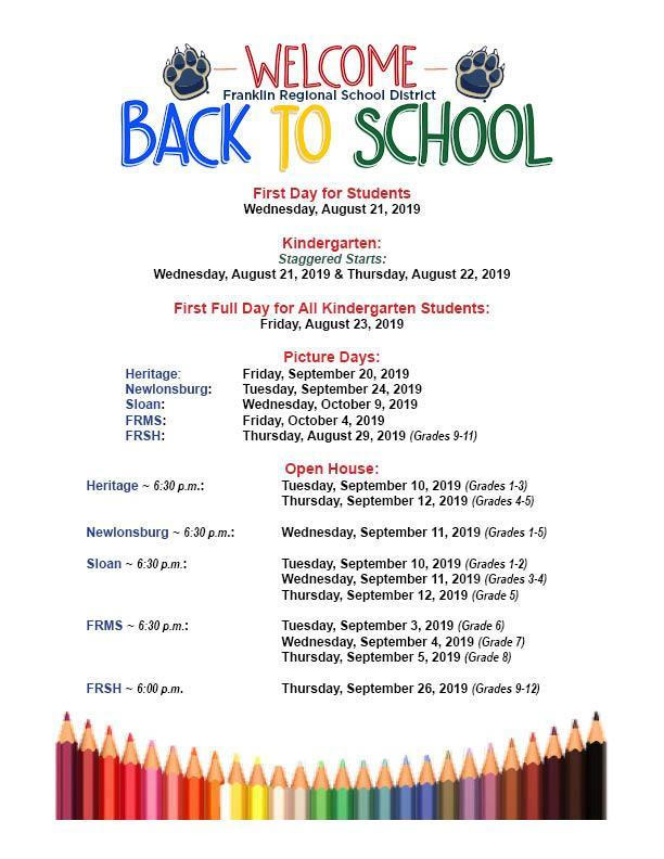 Flyer containing 2019 Back-to-School Dates including first day for students, Kindergarten start days, school picture dates, and Open House dates for all schools.