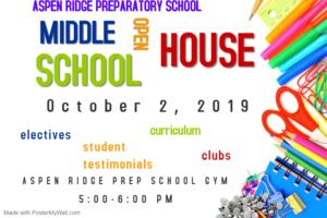 A flyer for Aspen Ridge Middle School Open House