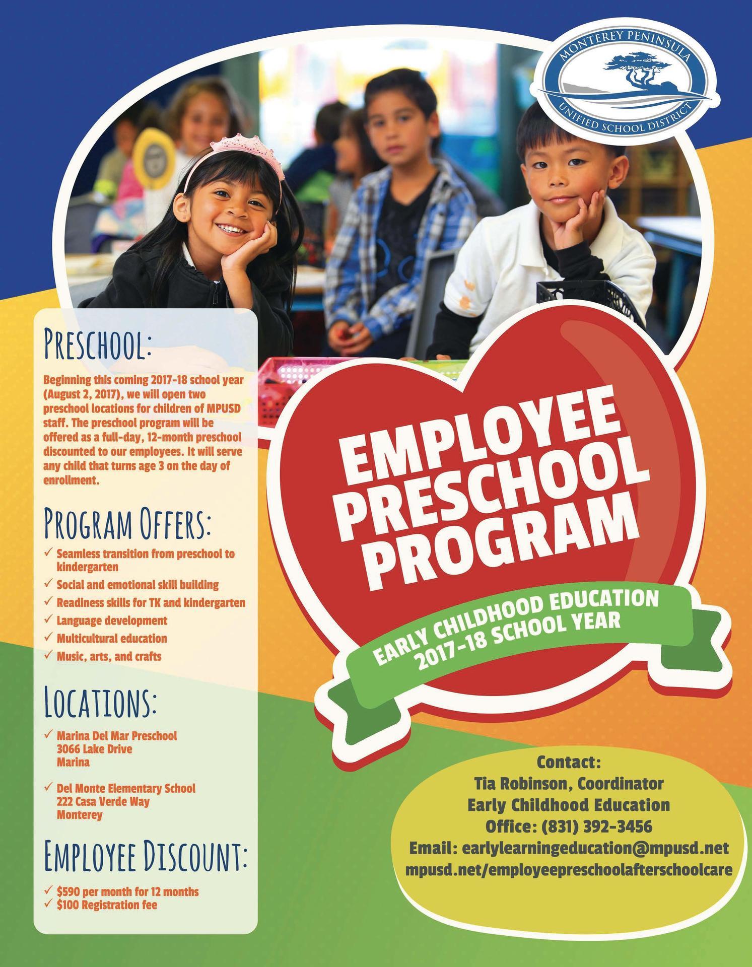 MPUSD Employee Preschool Flyer