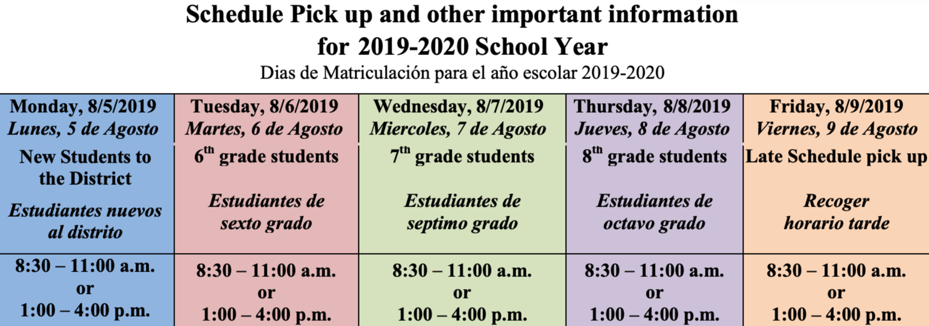 middle school schedule pick up