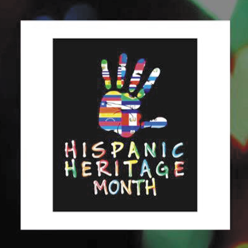 A handprint colored with flags from around the world, commemorating Hispanic Heritage Month
