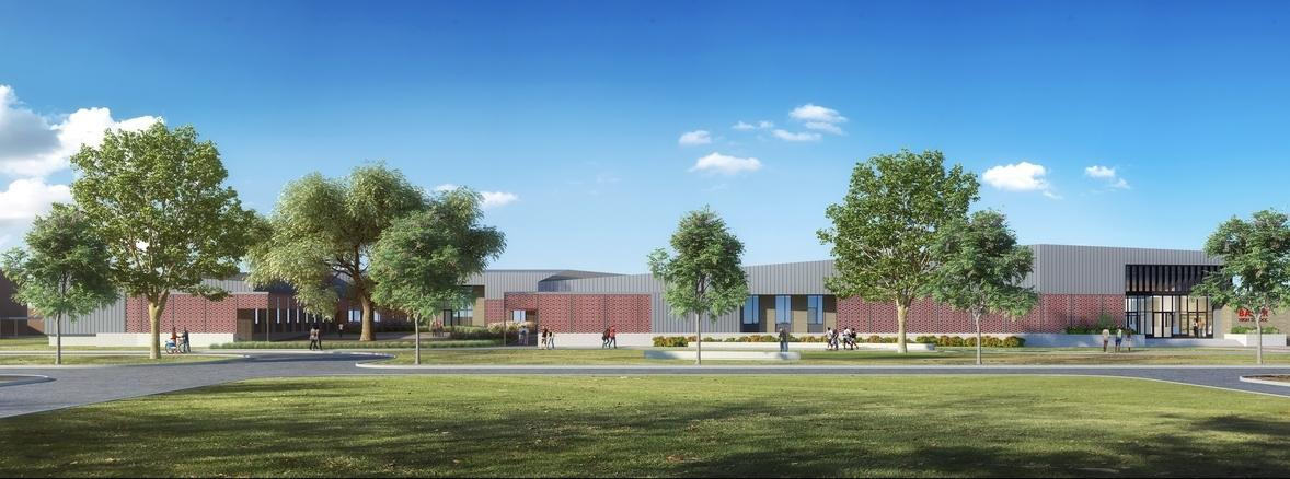a photo rendering of the proposed Baker High School Complex