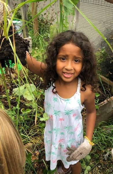 a 1st grader at Tamaques Elementary School enjoys an outing in the school's garden, as she and her classmates pick herbs and vegetables for the PTO's complimentary Farmers Market on September 7.