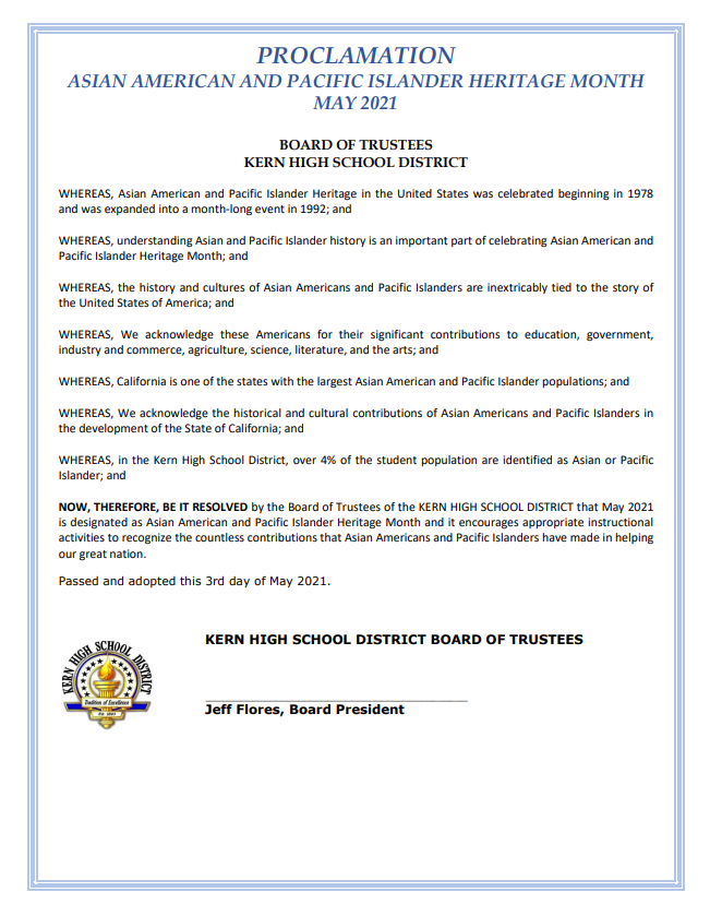 KHSD Board of Trustees proclaims May as Asian American and Pacific Islander Heritage Month in the KHSD