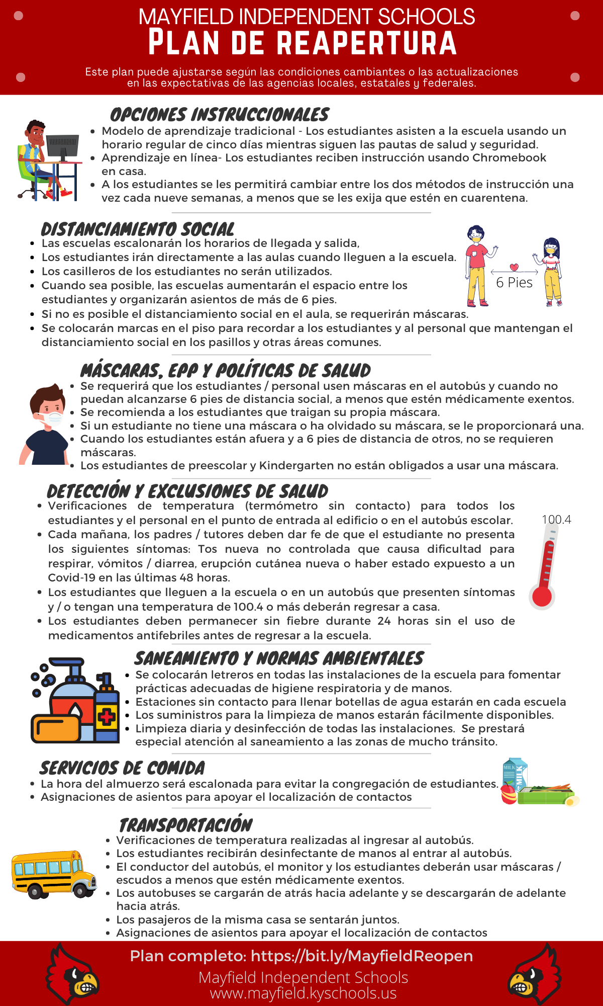 Photo of the Reopening Plan Infographic in Spanish.