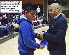 "#WednesdayWisdom Picture of Jason giving an academic award to a student. ""The beautiful thing about learning is that no one can take it away from you."" - B.B. King"