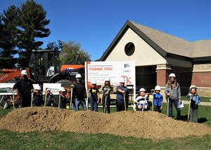 Students and principals from all three elementary schools take part in the groundbreaking ceremony.