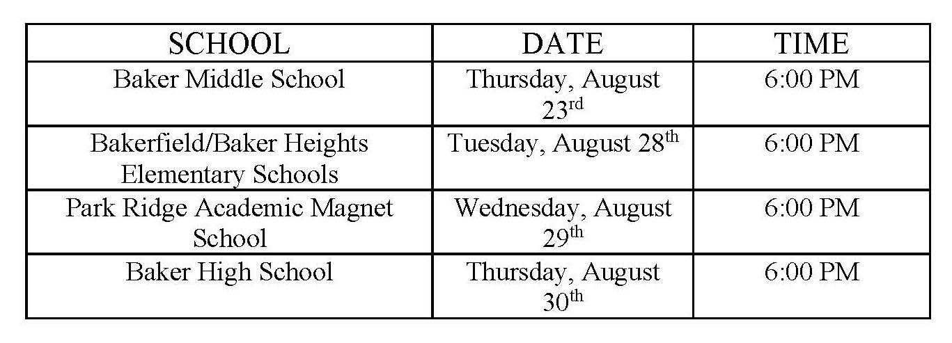 a graphic of the open house schedule for all City of Baker Schools 2018-19