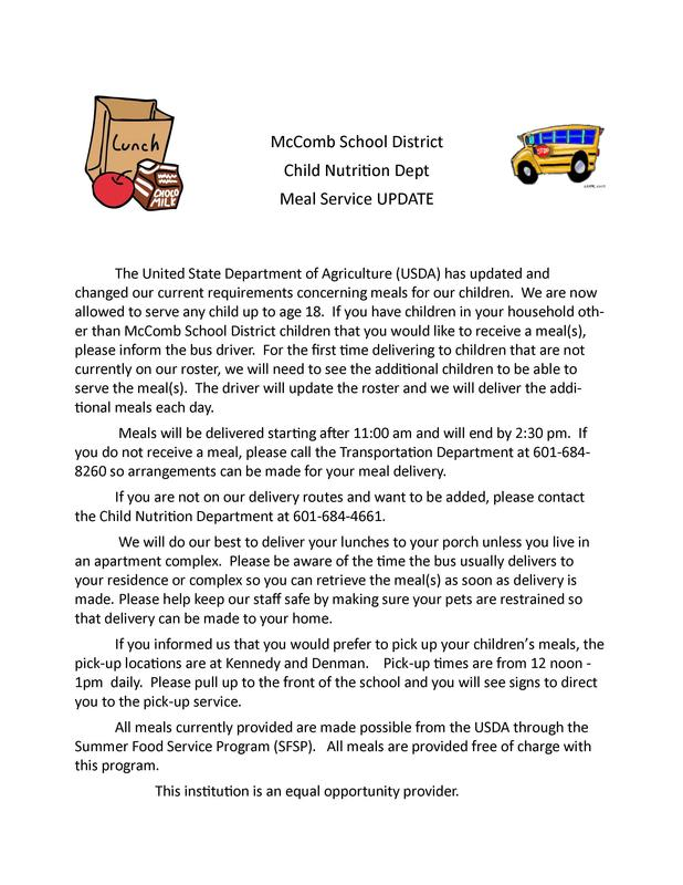 MSD Child Nutrition Meal Service Update