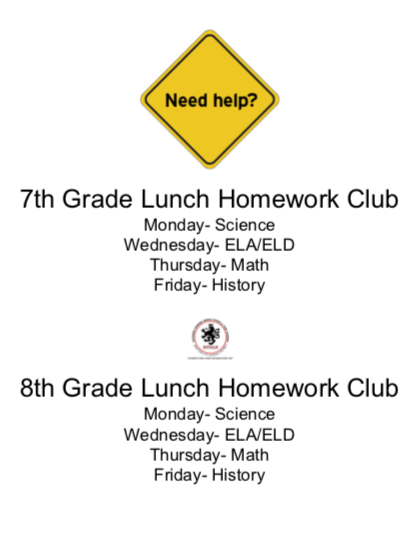 7th & 8th Grade Lunch Homework Club