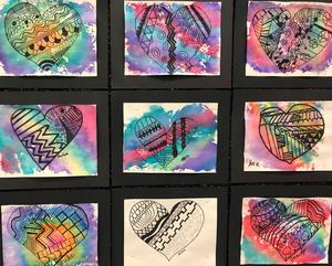 Students art work in hallway