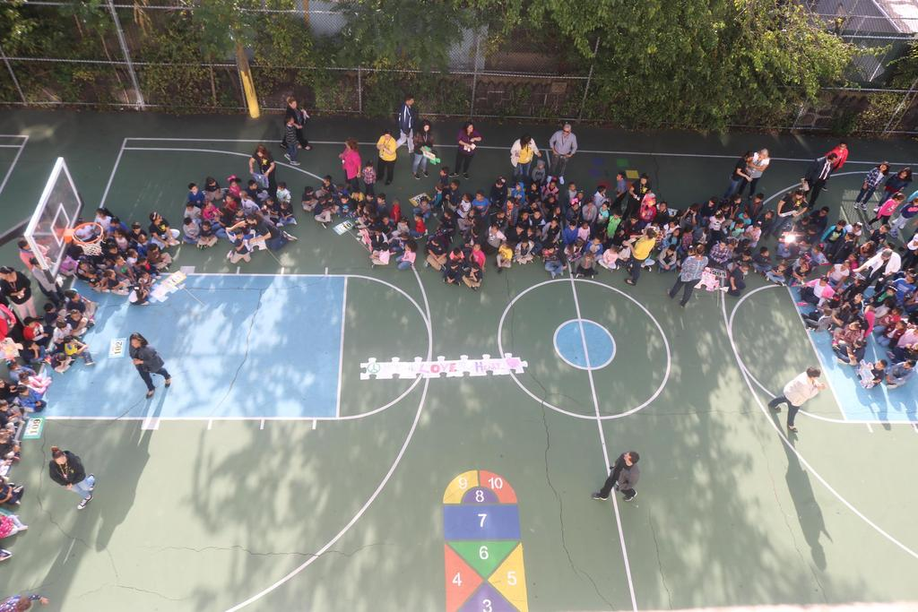 areal shot of the classes gathering