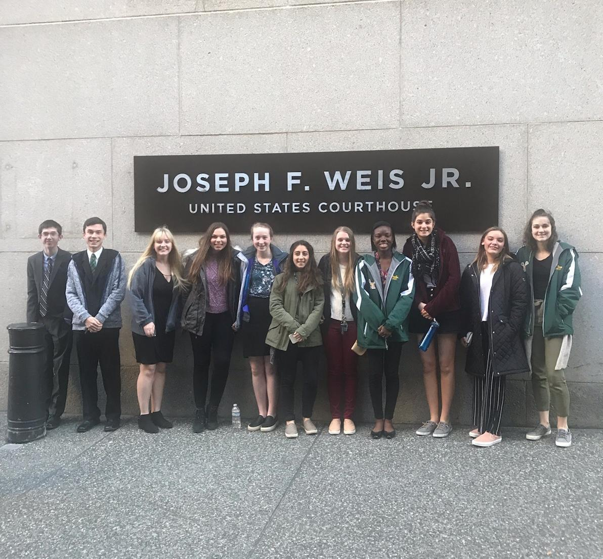 Mock Trial Team outside of Courthouse