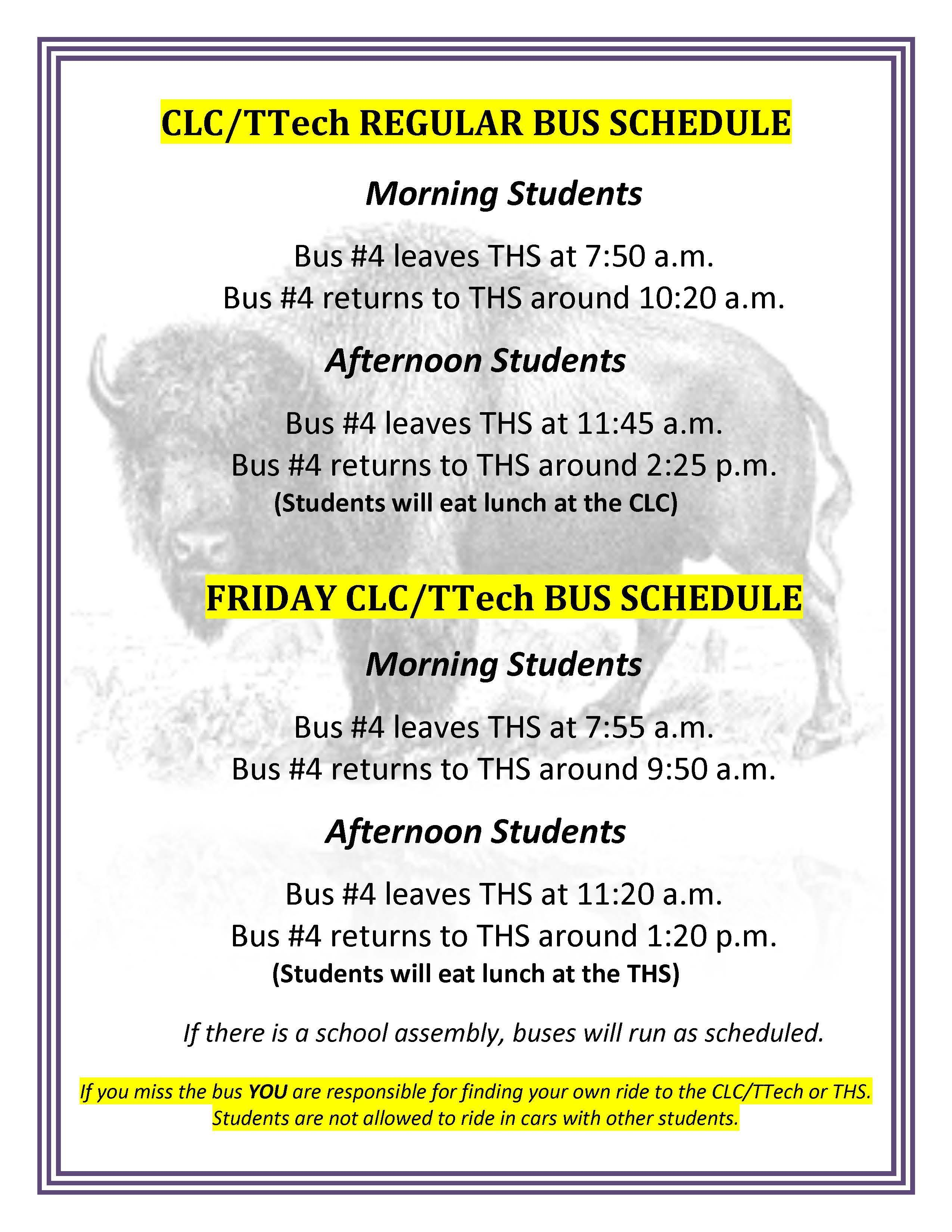 CLC bus schedule
