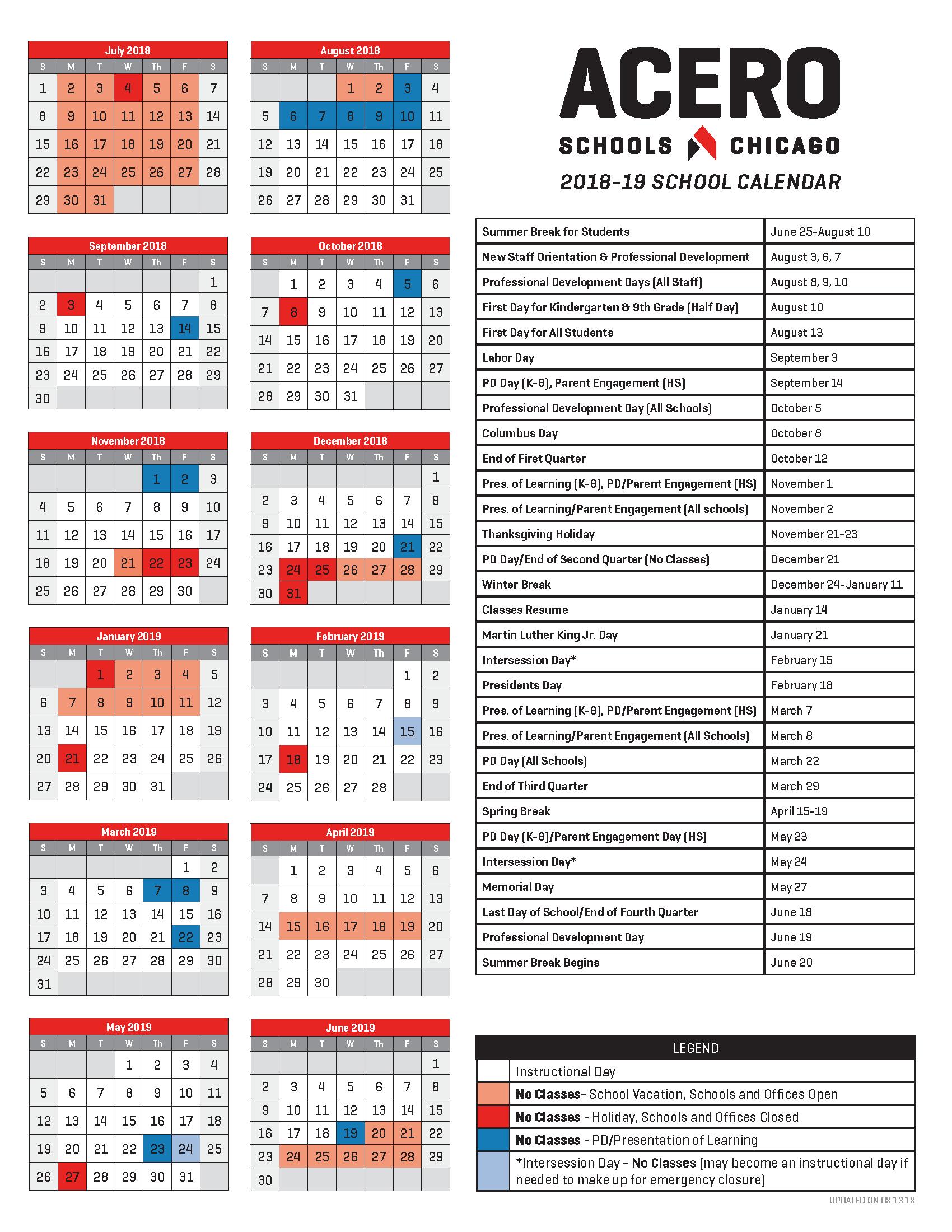 2018-19 School Calendar_English
