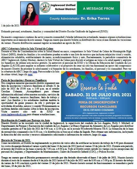 Comunicación a Padres, Familias, y Comunidad de IUSD - 7-1-2021 Featured Photo