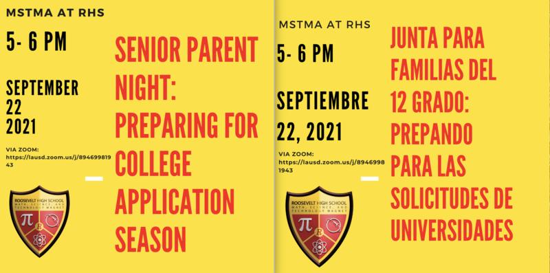 Senior Parent Meeting: Preparing for College Applications/ Junta para estudiantes del grado 12:  Preparandose para la Universidad Featured Photo