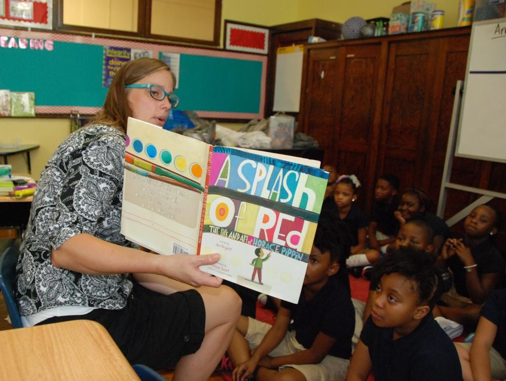 Reading 'A Splash of Red' to class, first day 2016-17