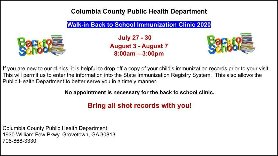 Public Health Department Back to School Dates