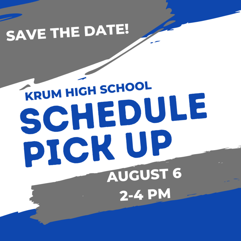 blue white and grey graphic reads save the date khs schedule pick up august 6 4-7pm