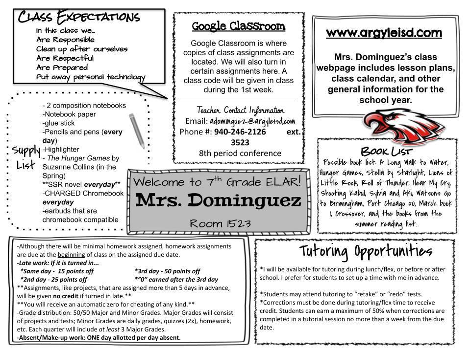 Welcome to 7th grade Language Arts and Reading! – Dominguez