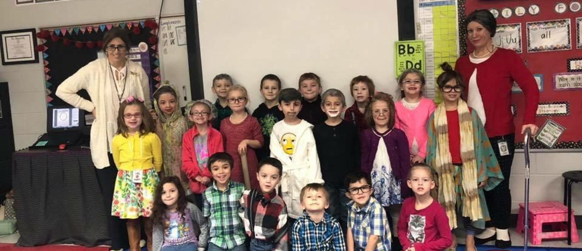 Kindergarten class on the 100th day of school