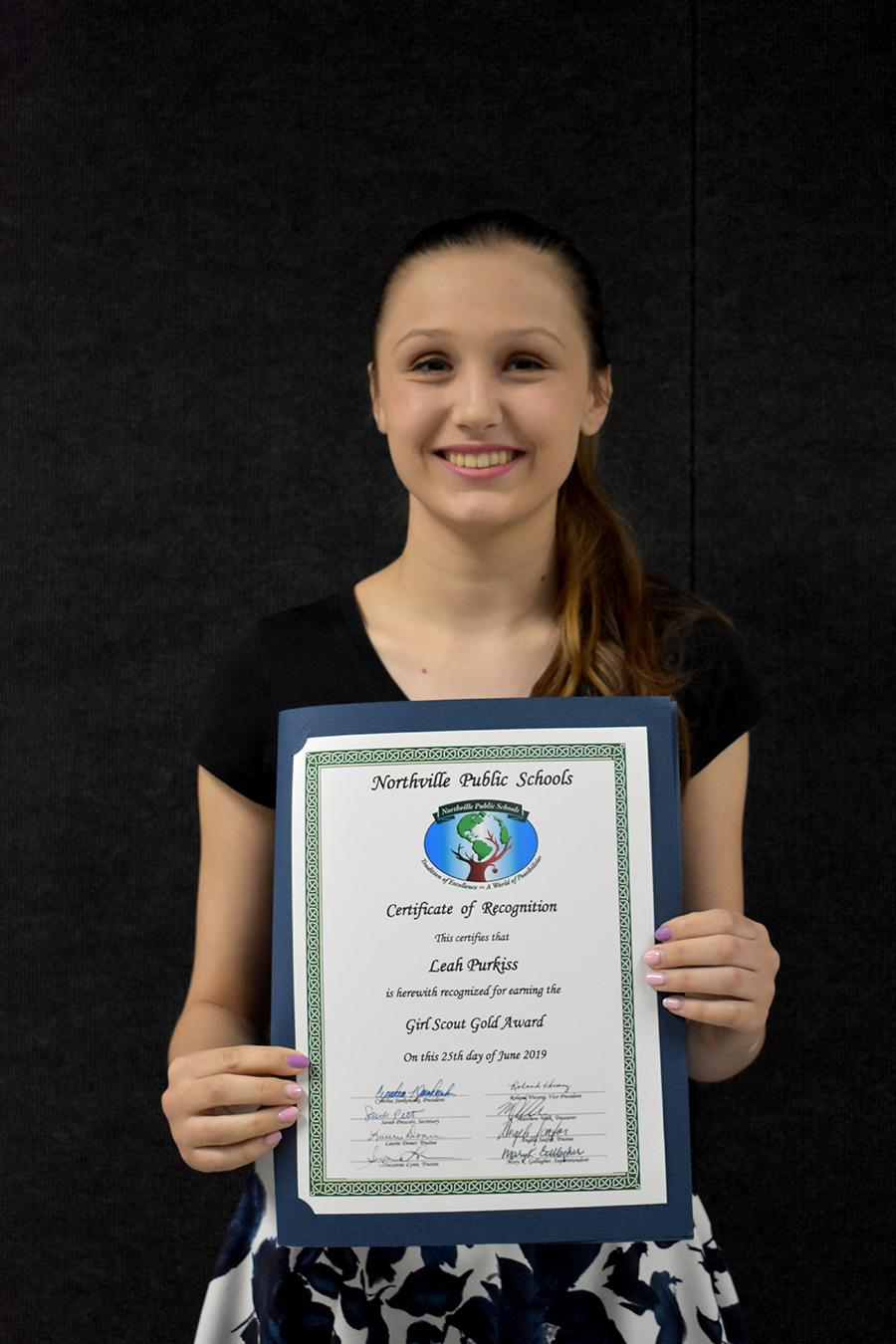 Leah Purkiss, Girls Scouts Gold Award
