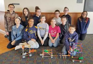 Mars Area Centennial School sixth-graders (back row, from left) Derek Piatek, Lily Coupland, Julia Nassif, Ryan Babeo, Carson Mahan, Natalie Paramalingam, (front row) Ella Nicotra, Natasha Narasimhan, Addison Nailler, Kendall Bruns, Dylan Weitzell and Patrick Miko competed in the AIU3 STEM Design Challenge.