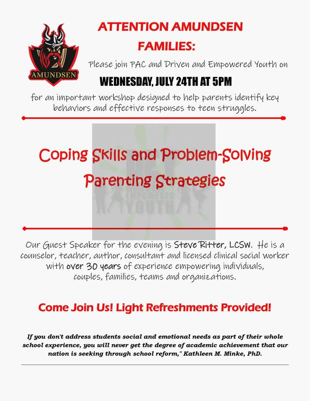 Parent Workshop:  Wed, July 24th at 5pm Featured Photo