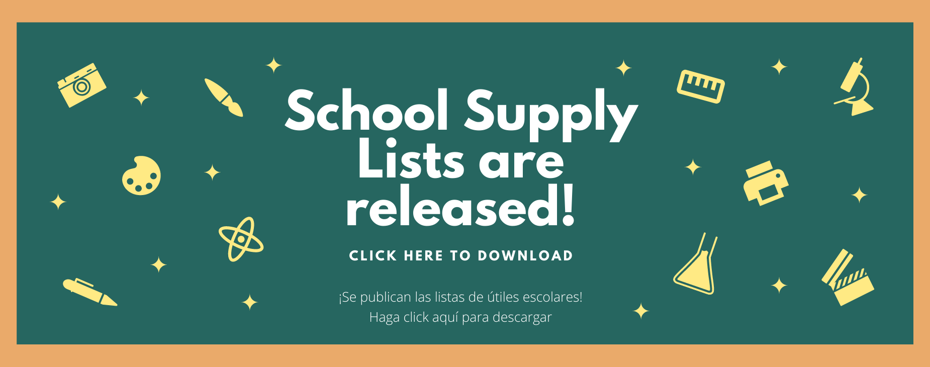 School Supply Lists are released!, Click here to download | ¡Se publican las listas de útiles escolares!, Haga click aquí para descargar