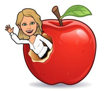 apple with teacher popping out