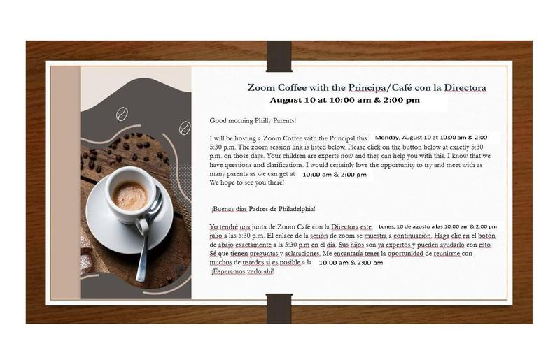 Please Preview Coffee with the Principal