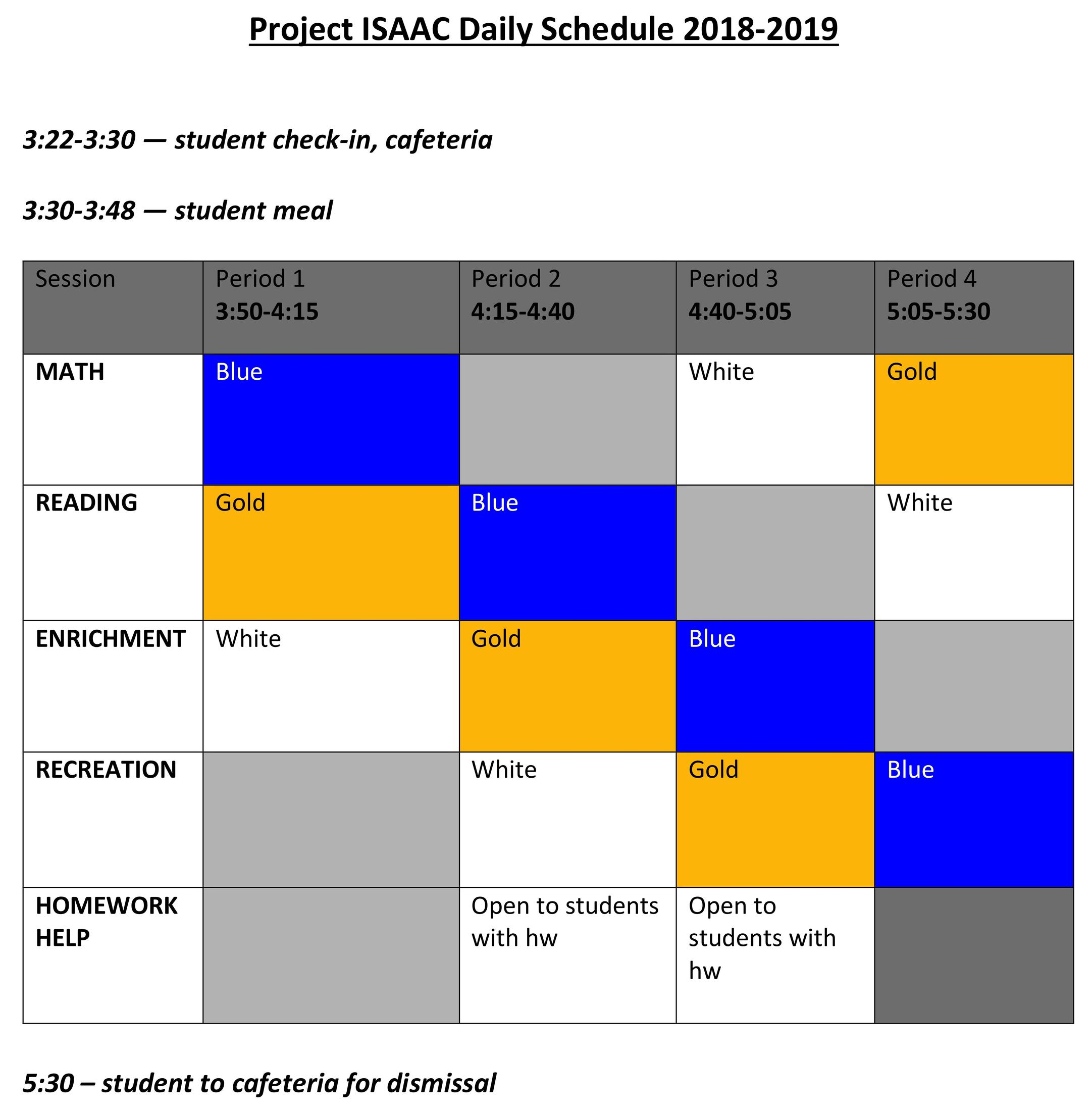 2018-2019 daily schedule